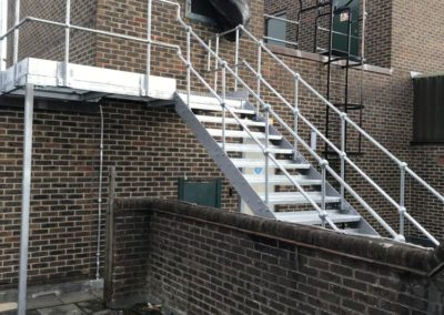 Fire escape stairs with platform
